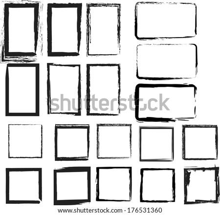 grunge frames. vector illustration. - stock vector