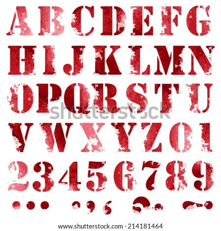 Grunge full alphabet and numbers  - stock vector