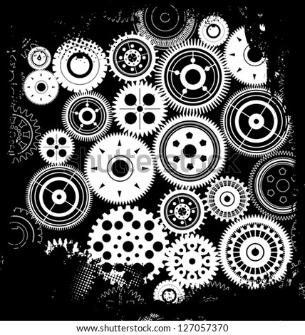 Grunge gear background - stock vector