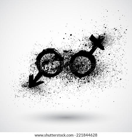 Grunge gender symbols - stock vector