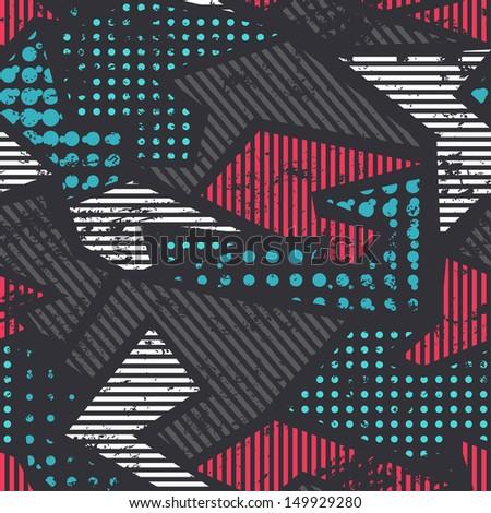 grunge geometric seamless pattern - stock vector