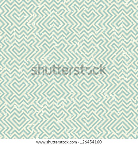 Grunge geometric striped pattern in retro style - stock vector