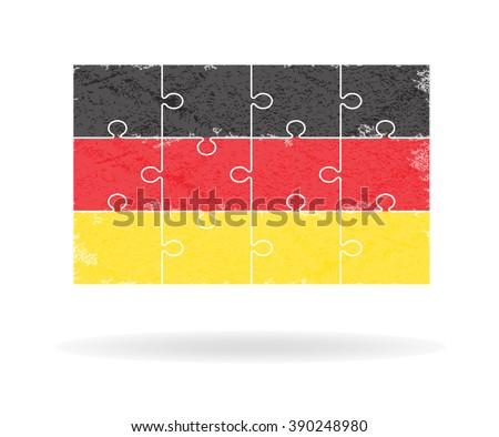 Grunge Germany flag jigsaw , Vector illustration - stock vector