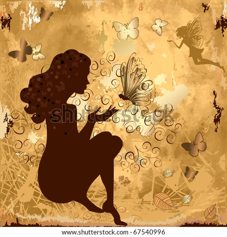 grunge girl with butterflies - stock vector