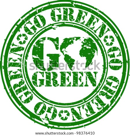 Grunge go green rubber stamp, vector illustration - stock vector