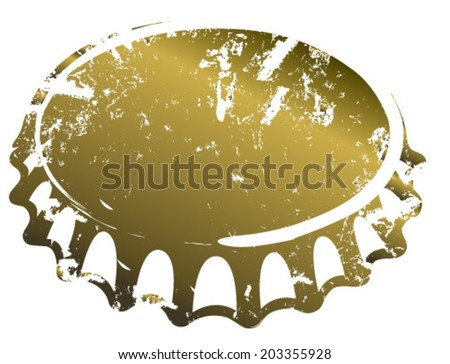 grunge gold bottle cap - stock vector