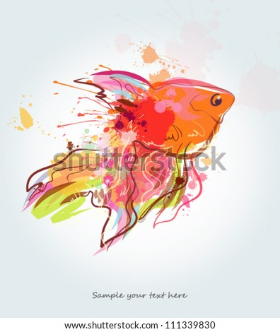 Grunge golden fish - stock vector