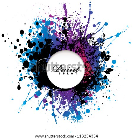 Grunge gothic paint splat with white copyspace - stock vector