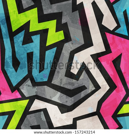 grunge graffiti seamless pattern - stock vector