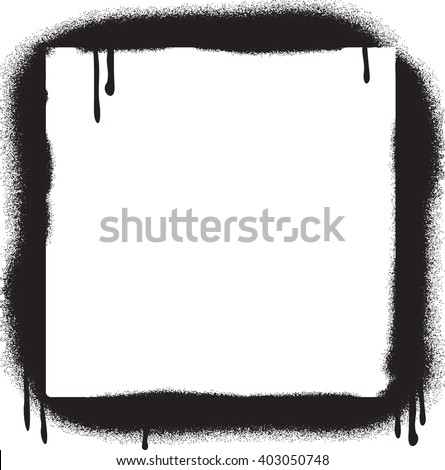 Grunge Graffiti Spray Paint Border Frame - stock vector