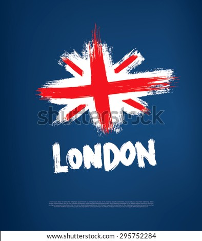 grunge great britain flag - stock vector