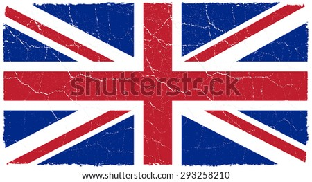 Grunge Great Britain flag.British flag with grunge texture.Vector illustration. - stock vector