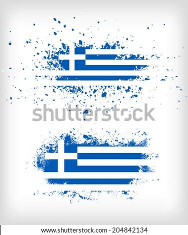 Grunge greek ink splattered flag vectors - stock vector