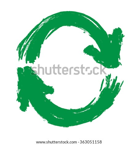 grunge green recycling symbol isolated on white, vector illustration design element - stock vector