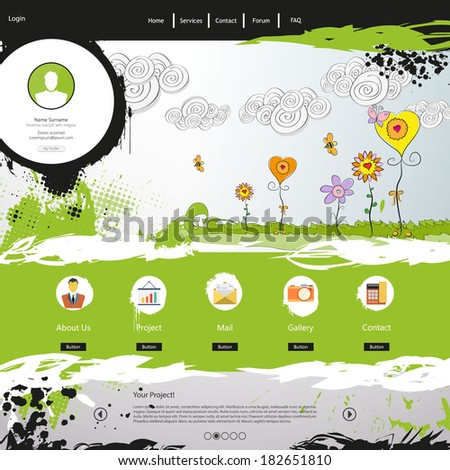 Grunge Green Website Template - stock vector