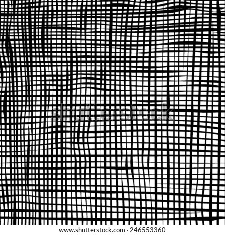 Grunge grid black and white texture. Vector ink grunge brush.  - stock vector
