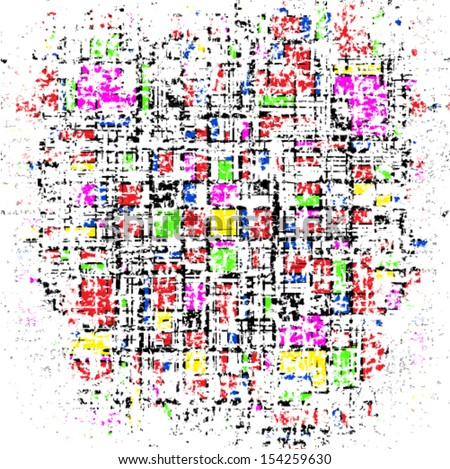 Grunge grid colorful texture. Vector ink grunge brush. Illustration background.  - stock vector