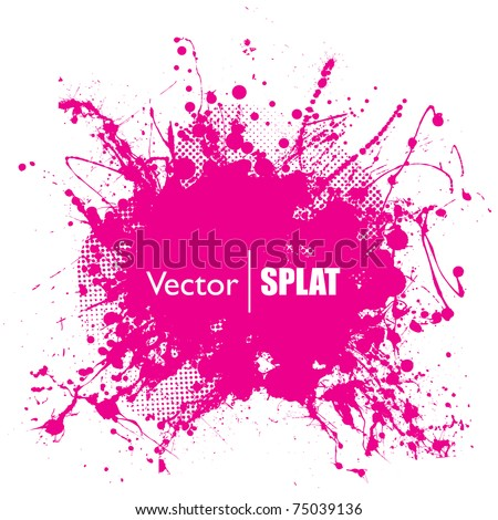 Grunge halftone ink splat with space for text or branding - stock vector