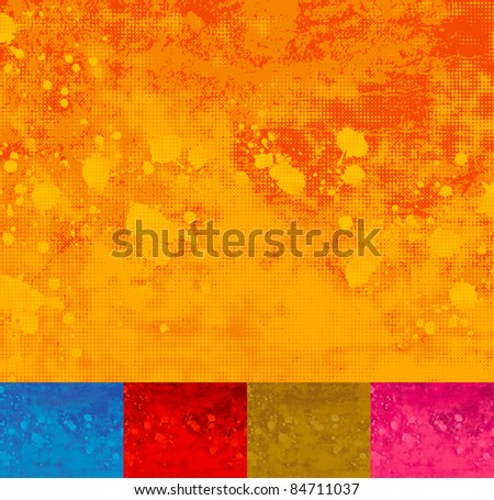 Grunge Halftone Splattered Background. Five different colors. - stock vector