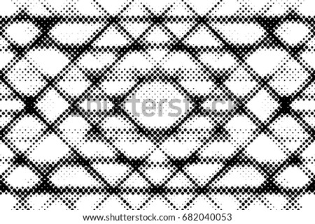 Grunge Halftone Vintage Vector Background. Ink Dots Texture Design Element. Easy To Create Abstract Dirty, Damaged,  Dotted, Spotted, Circles Effect. Aging Dots Overlay. Round Particles Backdrop