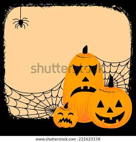 Grunge Halloween Background - Hand-drawn grunge background with a Halloween themed elements framing the space for your text.  Elements are grouped for easy editing. - stock vector