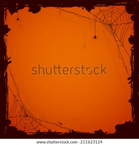 Grunge Halloween background with black spiders, illustration. - stock vector