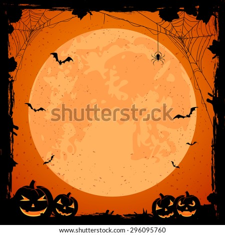 Grunge Halloween background with orange Moon, pumpkins, bats and spiders, illustration. - stock vector