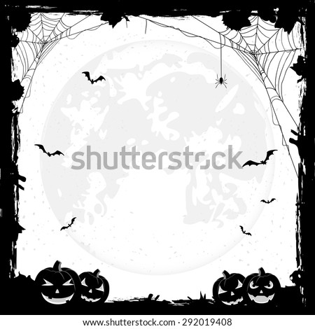 Grunge Halloween background with pumpkins, bats and spiders, illustration. - stock vector