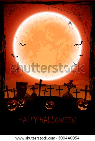 Grunge Halloween background with shining Moon, pumpkins, bats and spider on cemetery, illustration. - stock vector