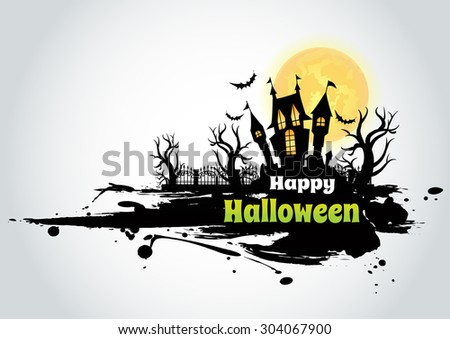 Grunge Halloween background wtih spooky bats and haunted house - stock vector