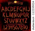 Grunge Halloween Font. Vector Collection of Latin Letters - stock vector