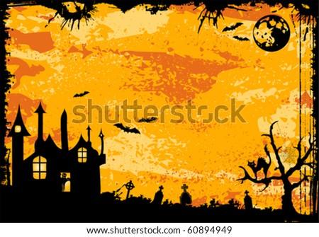 Grunge Halloween frame with bat, ghost, element for design, vector illustration - stock vector