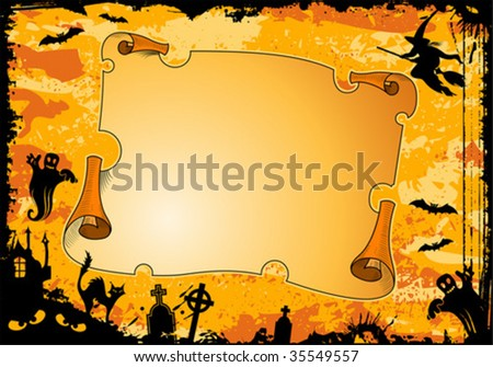 Grunge Halloween frame with roll, bat, witch, ghost, element for design, vector illustration - stock vector