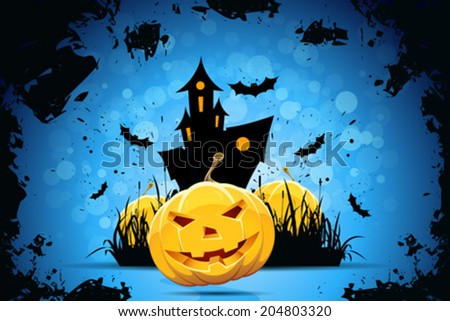Grunge Halloween Party Background with Pampkins, House in Grass and Bats - stock vector
