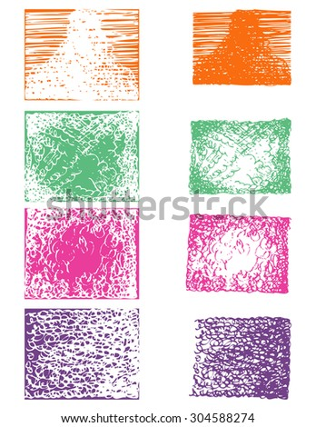 grunge hand draw square vector set - stock vector
