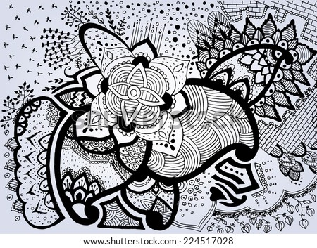 Grunge Hand-Drawn Abstract Henna Mehndi Flowers and Paisley Doodle Vector Illustration Design Element. Modern Mandala Hand Drawn Doodle Art - stock vector