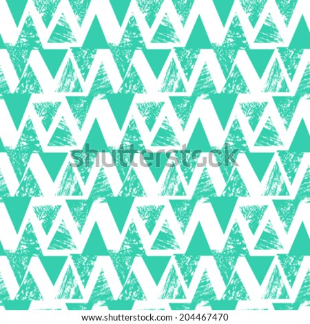 Grunge hand painted abstract pattern with bold textured triangles in bright multiple colors, seamless vector. - stock vector
