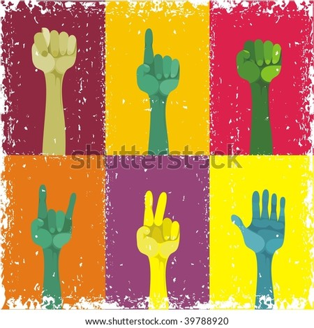 grunge hands up, different gestured, different colours - stock vector