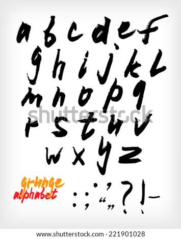 Grunge handwritten alphabet set (vector) - stock vector