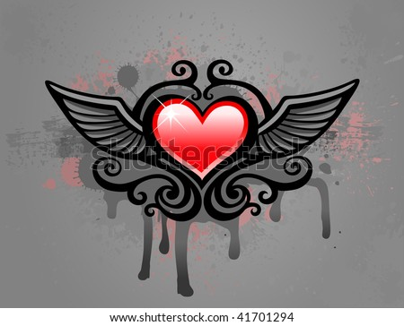 Grunge heart - stock vector