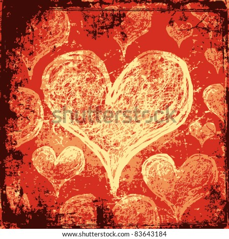 Grunge heart background - stock vector
