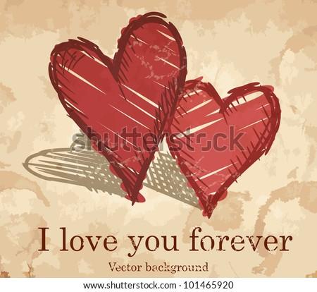 Grunge heart background. Vector illustration. Eps 10. - stock vector