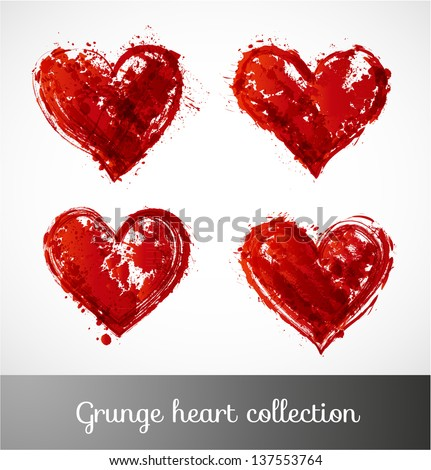 Grunge heart collection. Vector illustration. - stock vector