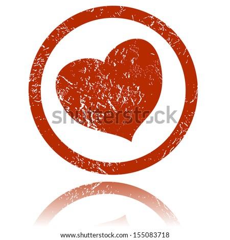Grunge heart on a white background. Vector Illustration - stock vector