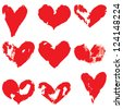 Grunge hearts. Vector set - stock photo
