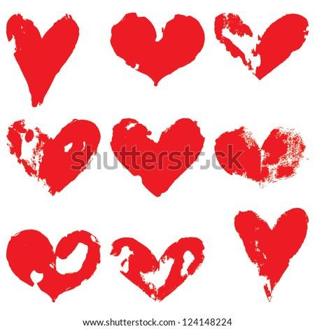 Grunge hearts. Vector set - stock vector