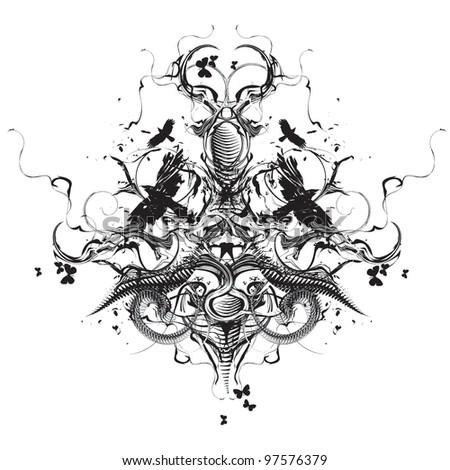 Grunge heraldic design - stock vector