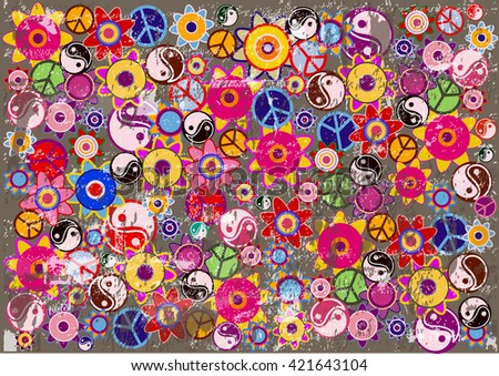 Grunge Hippies Background.Bright Vector Background with Colorful Hippies Icons.