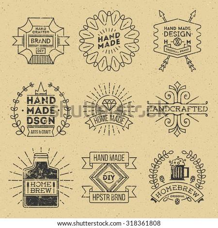 Grunge Hipster Retro Design Insignias Logotypes Set 11. Lo-Fi Vector Vintage Elements. Cardboard Texture. - stock vector