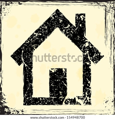 Grunge house icon  - stock vector